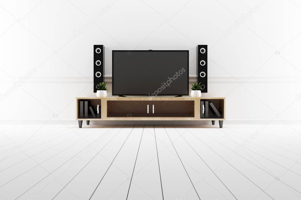 TV in modern empty room,minimal designs. 3d rendering stock vector