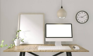 Computer with blank screen  and decoration in office room mock up background.3D rendering stock vector
