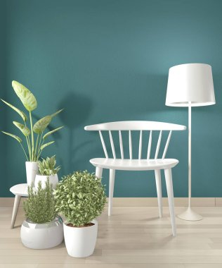 Mock up white chair and decoration in modern empty dark green room. 3d rendering stock vector