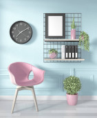 Ideas of office room pink Geometric Wall Art Paint Design color