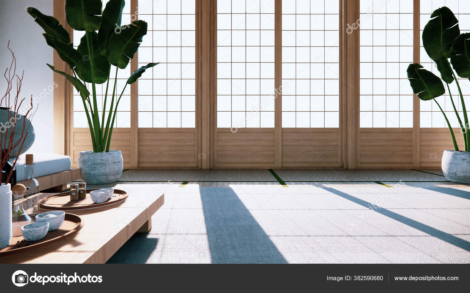 Multi Function Room Ideas Japanese Room Interior Design Rendering Stock Photo C Minny0012011 Gmail Com 382590680