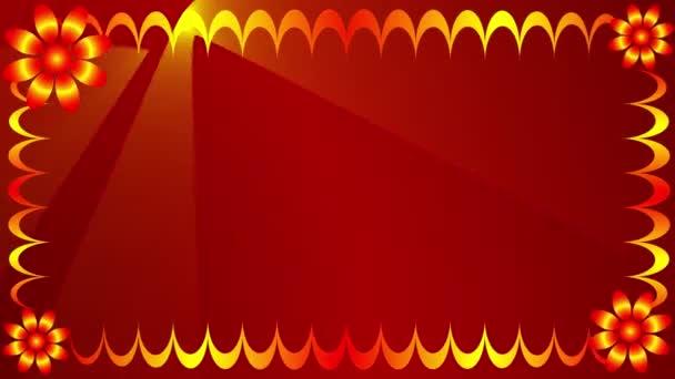 keret az információhoz. a görbe vonalak piros háttér felé mozognak, és aranyszínű virággá változnak. Mozgó sugarak jelennek meg a bal felső sarokban.