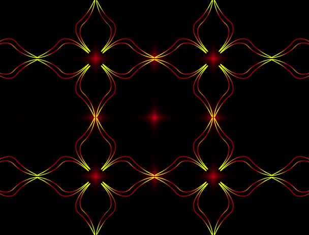 Auf dunklem Hintergrund zeichnet sich allmählich ein helles florales Ornament aus Rot- und Gelbtönen ab.