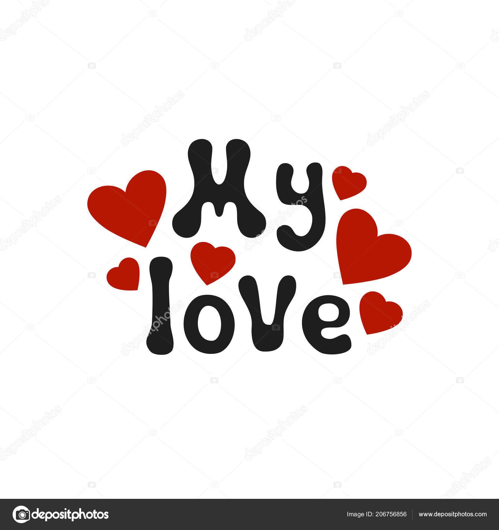 Frase Romantica De Letras Mi Amor Elemento Decorativo Handdrawn