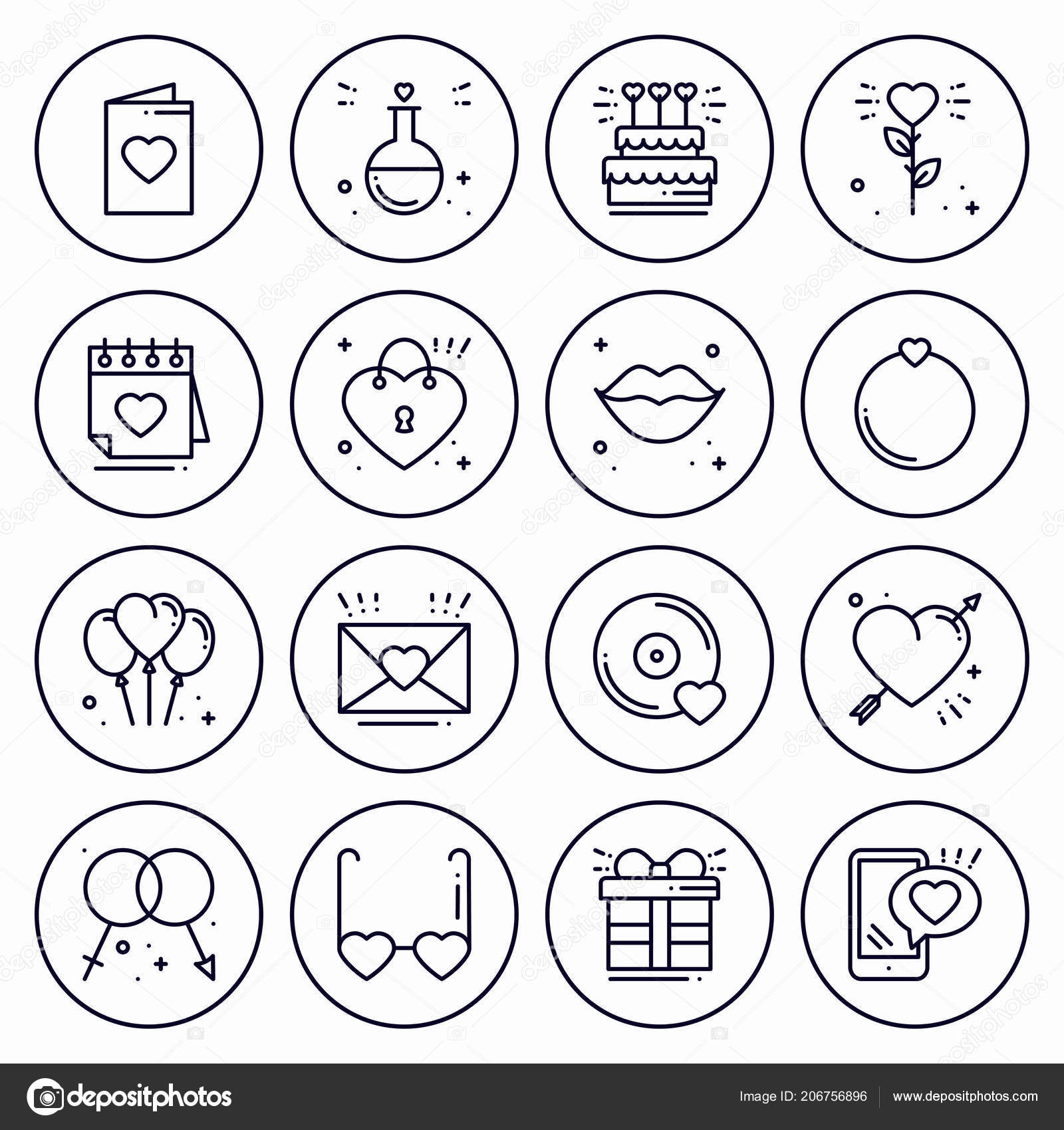 Love Line Icons Concept Set Happy Valentine Day Signs And Symbols