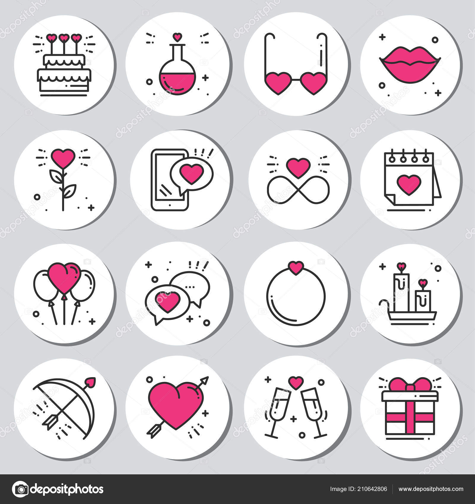 graphic relating to Printable Stickers Labels identified as St Valentines working day spherical printable stickers fastened. Intimate