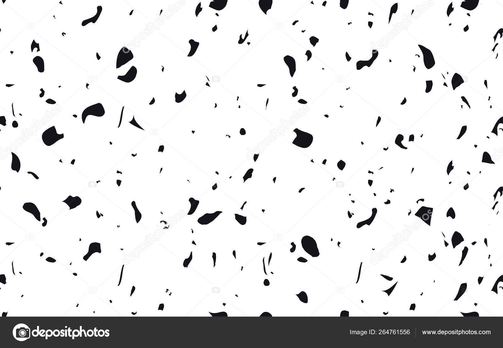 Unique Terrazzo Flooring Vector Seamless Pattern In Black