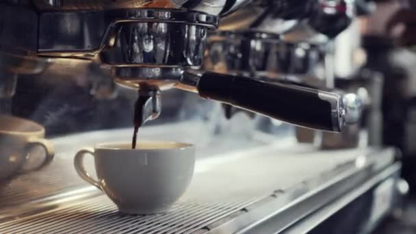 Coffee machine making espresso in a cafe