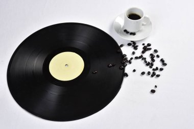 old vinyl record with coffee