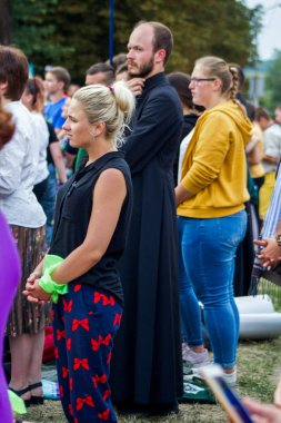 Ukraine, Berdychiv - July 20, 2019: the feast of the Mother of God the Holy Scapularin the All-Ukrainian Sanctuary in Berdichev. people gather for the festive liturgy of the Italian archbishop Tomazzo Caputo