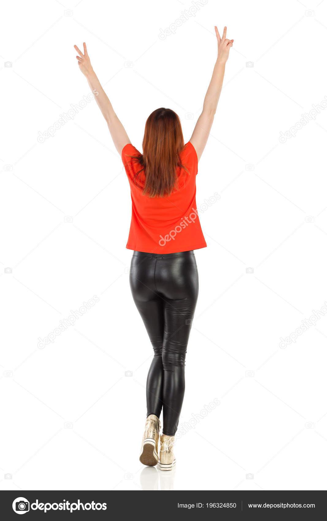 /Pantalones de tiro alto A-Express /®/ brillante aspecto mojado negro de piel sint/ética leggings de longitud completa