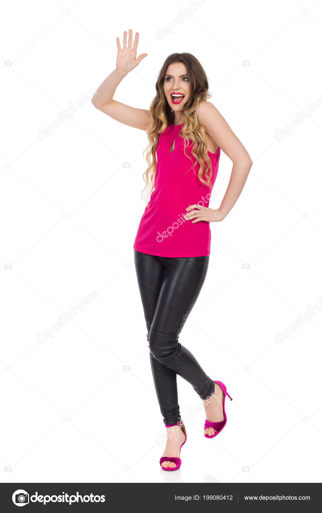e413e6dcb9c Beautiful Young Woman Black Leather Pants High Heels Pink Top ...