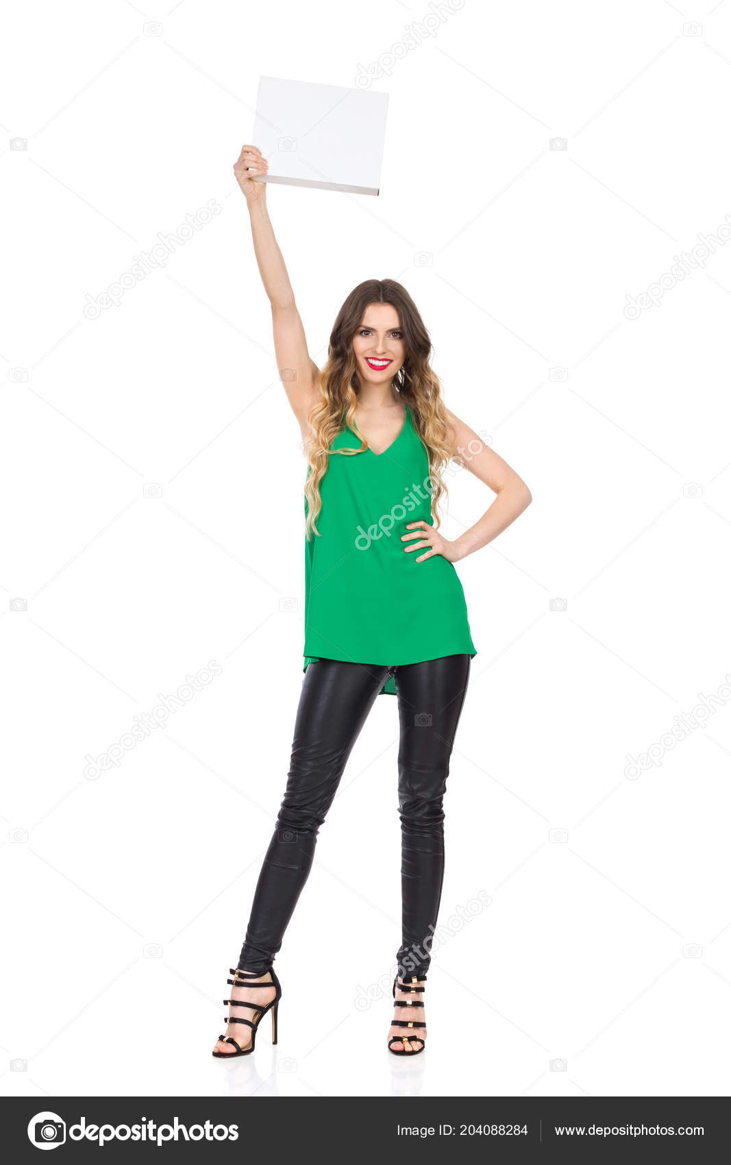 463ed6ccc43 Beautiful Young Woman Green Top Black Leather Pants High Heels ...