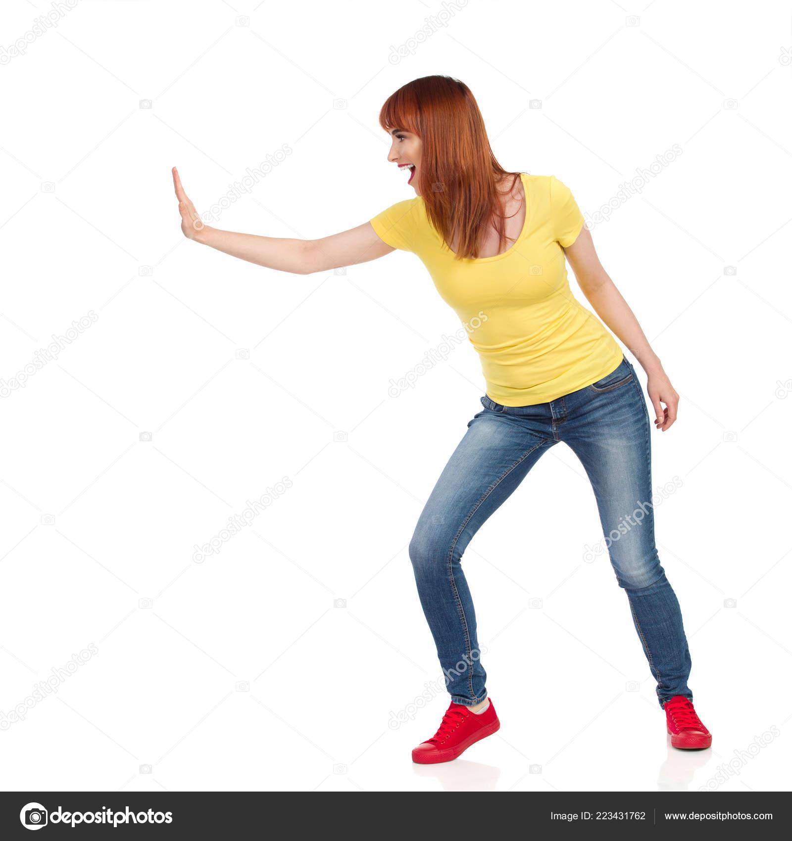 Zapatillas Pantalones Amarilla Vaqueros Camisa Deporte Joven Mujer dxoEQCWrBe