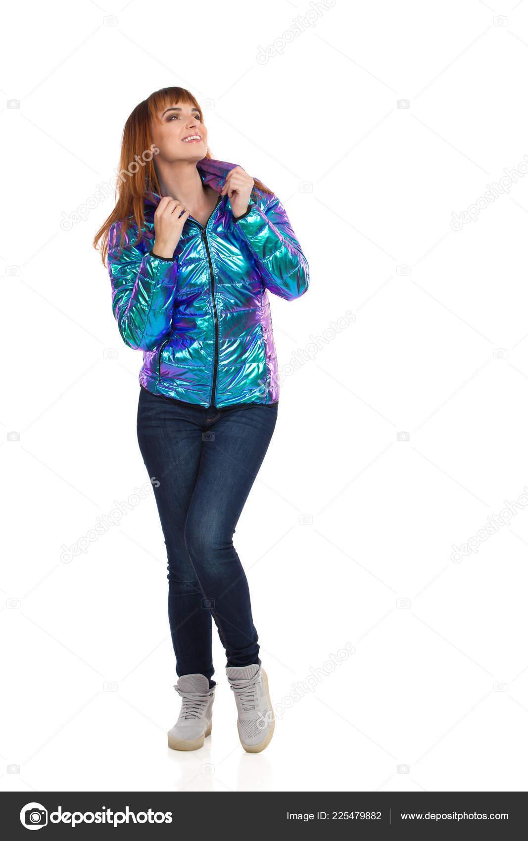 Joven Pantalones Vaqueros Brillante Vibrante Chaqueta Abajo Mujer dWBorCex