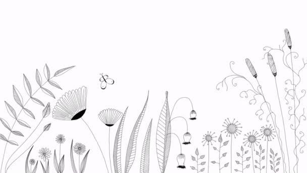 fekete lengő virágok fehér háttér