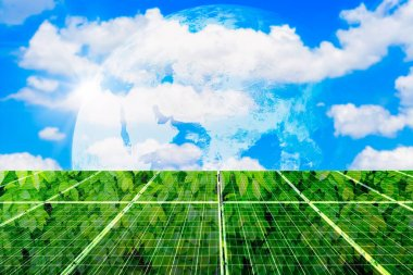 Texture Green leaves of photovoltaic solar panel with earth blue sky clouds background, Alternative Clean energy concept,Elements of this earth image furnished by NASA.