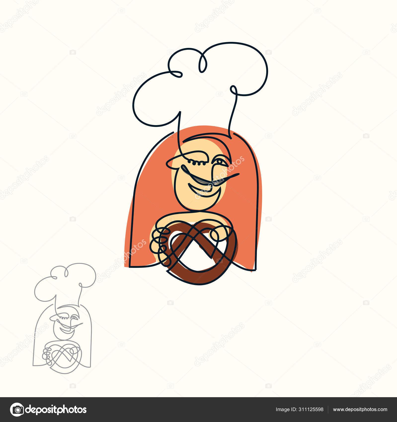 Boulanger souriant donnant bretzel. Chef bretzel. Modèle de conception de  logo vectoriel. Filigrane. Une ligne art avec la coloration 32