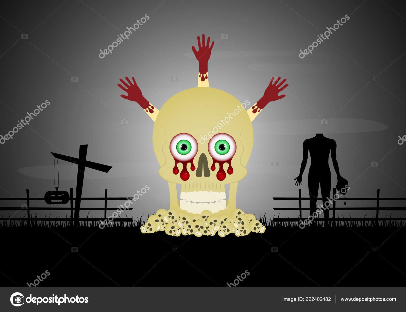 Halloween Kruis.Halloween Schedel Stapel Bloed Hand Kruis Zombie Vector