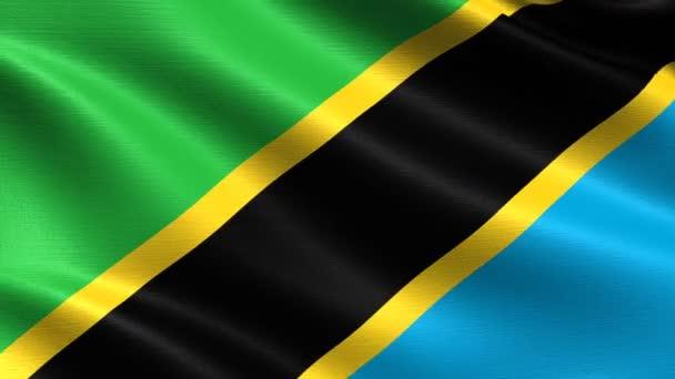 Reális zászlaja Tanzánia, zökkenőmentes hurkolás rendkívül részletes szövet textúra, 4k felbontás