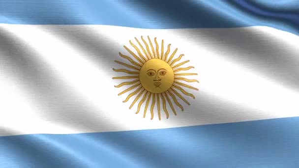 Realistic flag of Argentina, Seamless looping with highly detailed fabric texture, 4k resolution