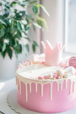Happy birthday pink cake for a girl