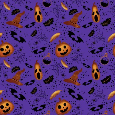 Halloween seamless pattern with pumpkin, pen, bat, hat, poison, spider, web, dots on violet background. Illustration for holiday celebration, wrapping paper, banner