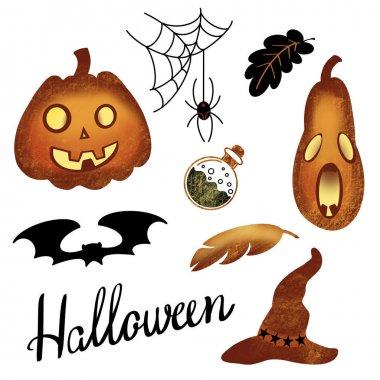 Set of pumpkin, pen, bat, hat, poison, spider, web, dots on white background. Design for holiday celebration, print, banner