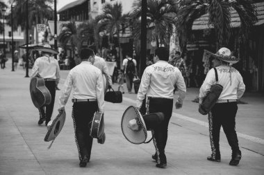 walking people on road, Cozumel Island Street view, Caribbean ,Mexico  mariachis