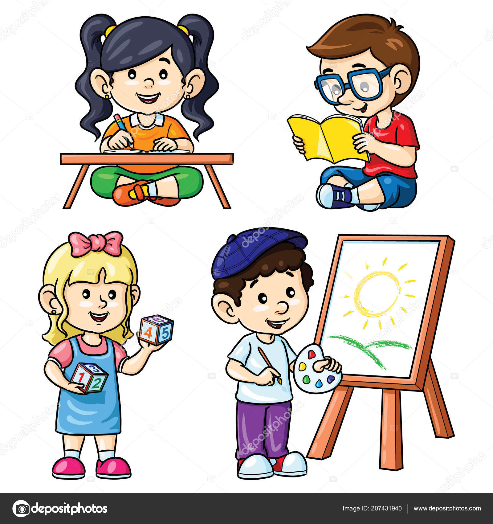 illustration cute cartoon activity kids reading writing counting