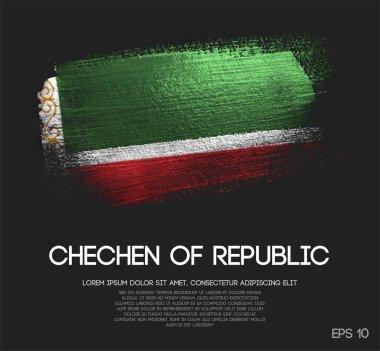 Chechen Republic Flag Made of Glitter Sparkle Brush Paint Vector