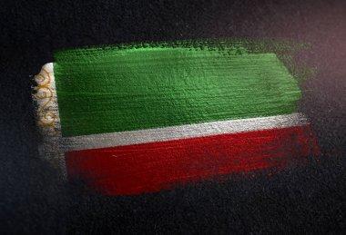 Chechen Republic Flag Made of Metallic Brush Paint on Grunge Dark Wall