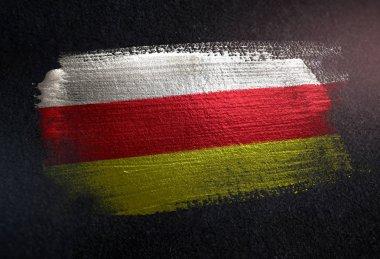 North Ossetia-Alania Flag Made of Metallic Brush Paint on Grunge Dark Wall