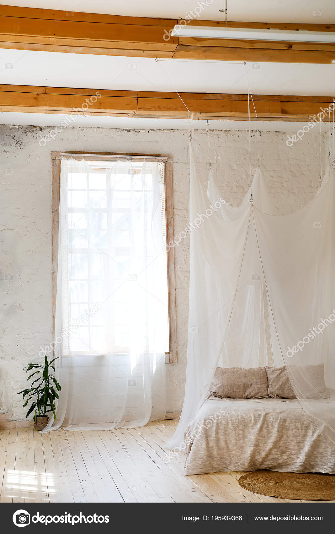 Bedroom Soft Light Colors Wooden Floor Big Comfortable Four Poster Stock Photo Image By C Lyulka 86 195939366