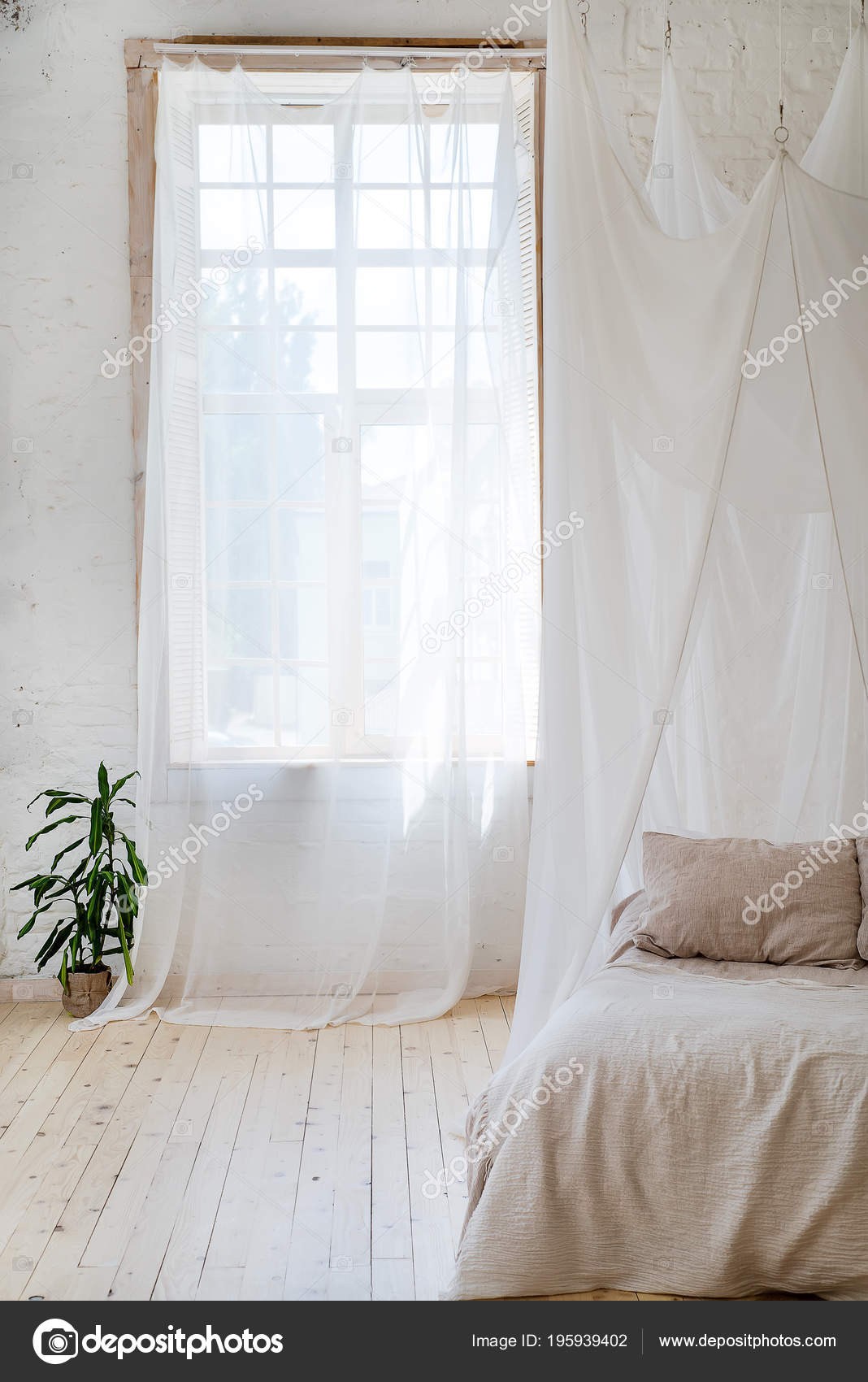 Bedroom Soft Light Colors Wooden Floor Big Comfortable Four Poster Stock Photo C Lyulka 86 195939402