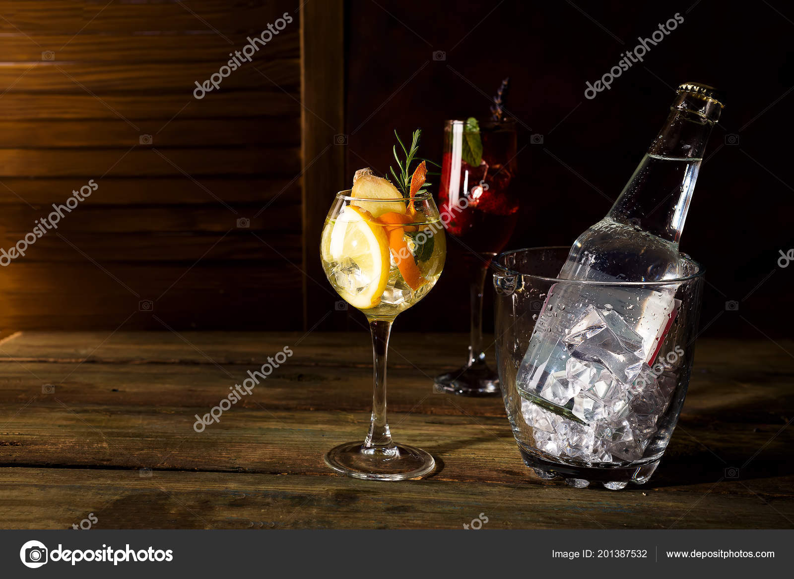 Whiskey Based Cocktail Mixed Glass Ice Bucket Orange Peel