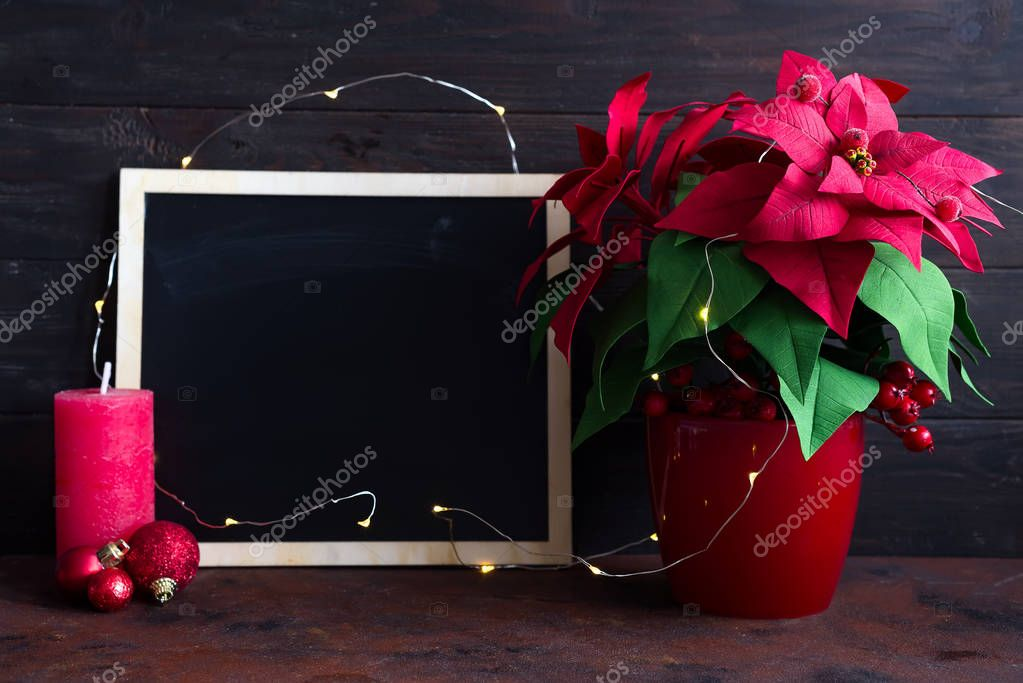 Christmas still life with poinsettia, gaultheria and decorations on wooden table. Merry Christmas, chalk board with copy space