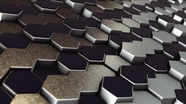 3D Abstrakte Hintergrundanimation. Metallsechsecke.