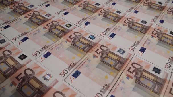 Rows of 50 euro banknotes