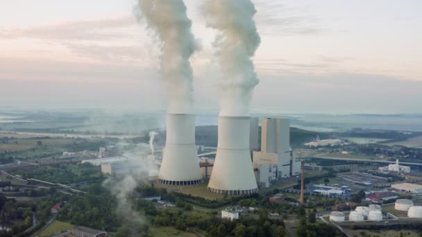 Aerial video footage of a coal-fired power plant