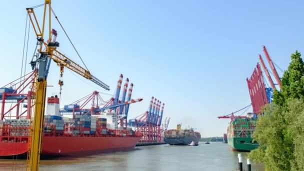 Zeitraffer-Video beim Entladen großer Frachtfähren mit Seecontainern im Hamburger Frachthafen