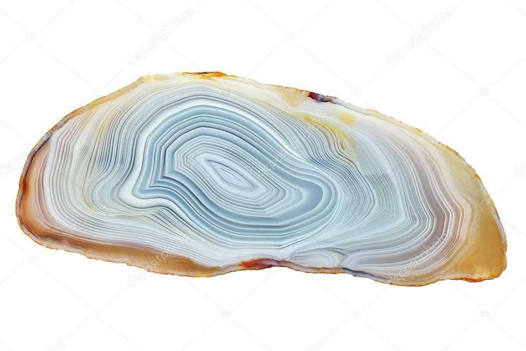 Amazing Banded Agate Crystal cross section cut isolated on white background. Natural light translucent agate crystal surface, Gray abstract structure slice mineral stone macro closeup