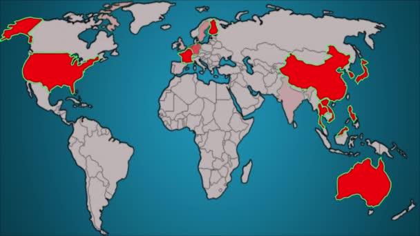Země na mapě světa jsou zase barevně červené. Animace, šíření, planeta