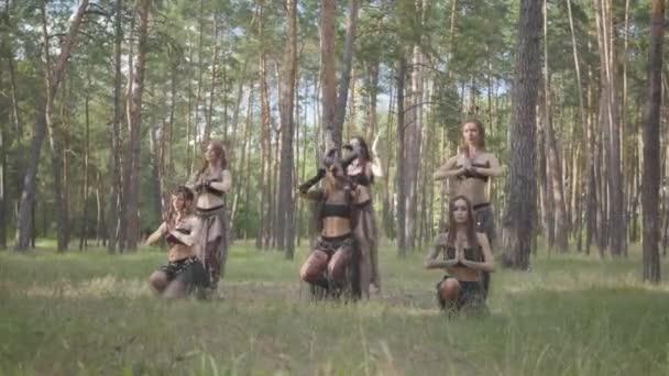 Sebevědomé ženy s make-up a v mystickém báječném kostýmu tančí v přírodě tanec groj. Lesní víly, dryády se mezi stromy baví. Vystoupení tanečníků venku.