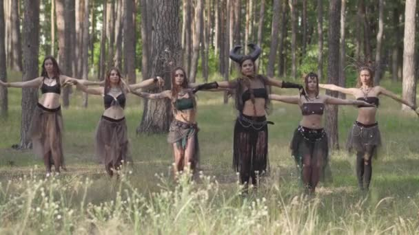 Erdőlakók táncolnak az erdőben forró tánc, mozgó egyszerre. Erdei tündérek, driádok gyönyörű jelmezek magatartás ősi szertartás a fák alatt. Előadásában táncosok az erdőben