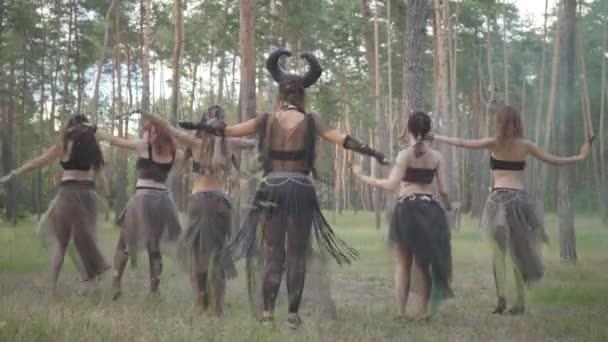 Skupina tanečníků s make-up a v mystickém báječném kostýmu tančí v lese tanec groj. Lesní víly, dryády se mezi stromy baví. Vystoupení tanečníků venku.