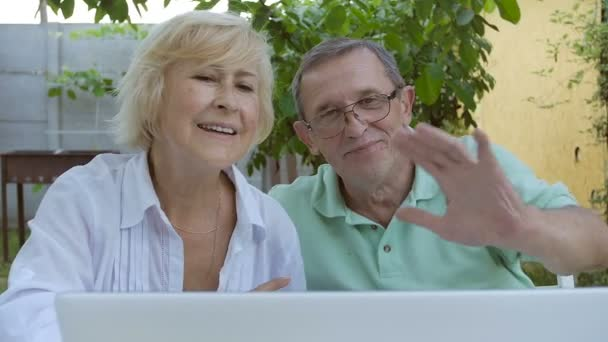 Elderly Couple Waving His Hands Laptop Webcam Elderly Couple