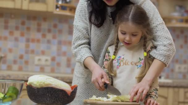 Young mother teaches her little daughter to cook at the kitchen. The family is preparing salad with fresh vegetables and cuts them on the cutting board. Young woman spend her leisure time together with little daughter at home. Prores codec.