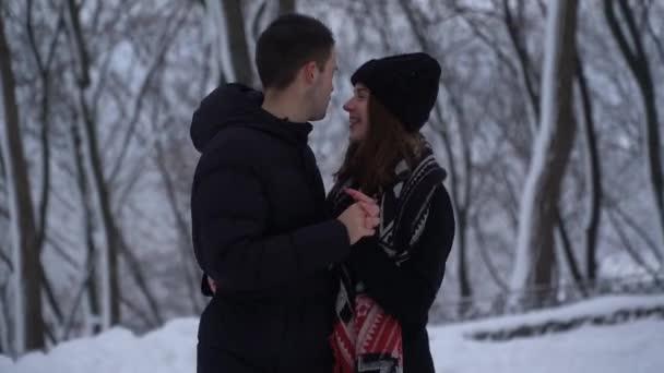 Krásná mladá žena a muž mluvit dívá do očí v zimním parku pod padajícím sněhem. Muž hřeje ruce dámy, video