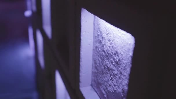Prvek zdi s modrými světly. Návrh interiéru.